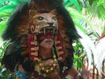 The male costume included an intimidating Jaguar head (not real). His black and red painted eyes enhanced it all.